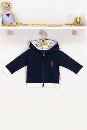 US Polo Assn Erkek Çocuk Mavi Kapüşonlu Hırka 0