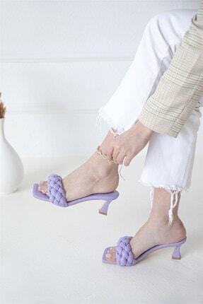 Straswans Kadın Topuklu Küt Burun Deri Sandalet Lila 1