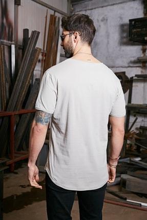 Sateen Men Erkek Taş Kısa Kol Long Kesim Basic T-Shirt 2