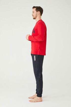 US Polo Assn Erkek Kırmızı Yuvarlak Yaka Pijama Takım 1