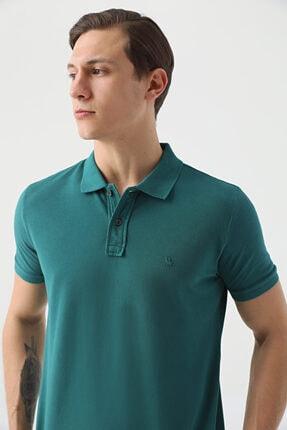 D'S Damat Erkek Yeşil Regular Fit Pike Dokulu T-shirt 1