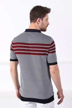 Ferraro Erkek Lacivert Polo Yaka Fermuarlı Pamuk Triko T-shirt 4