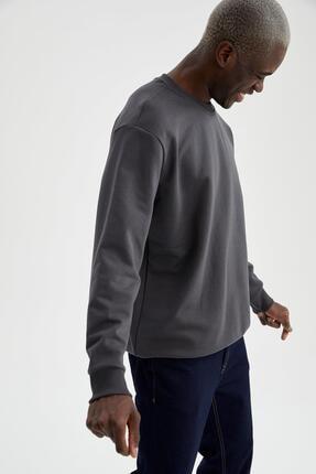 Defacto Erkek Gri Oversize Fit Bisiklet Yaka Basic Sweatshirt 0