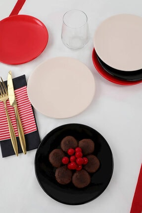 Keramika Krem - Kırmızı - Siyah Tatlı Tabağı 17 cm 6 Adet 0