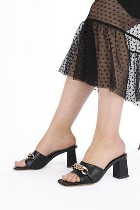 Marjin Kadın Siyah Topuklu Terlik Larme 3