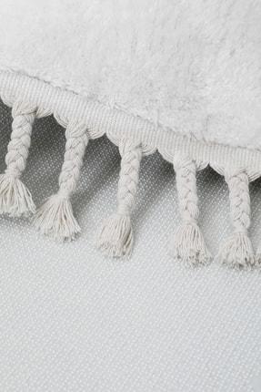 Dijidekor Beyaz Yuvarlak Post Dokuma Halı Saçaklı Peluş Halı Antibakteriyel 110x110 3