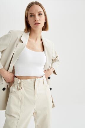 Defacto Kadın Ekru Oversize Fit Blazer Ceket 0