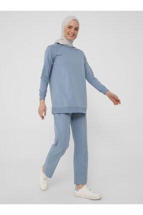 Refka Kadın Mavi Uzun Kollu Basic Eşofman Takımı 0