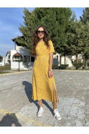Kadın Sarı Diz Altı Elbise 13EL9967