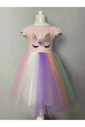 Buse&Eylül Bebe Kız Çocuk Pembe Unicorn Taçlı   Parti Elbisesi 2