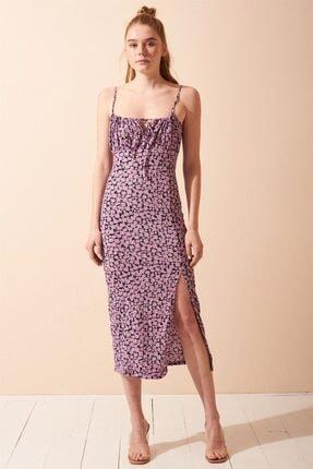 Never more Yırtmaç Detaylı Çiçekli Askılı Elbise 2