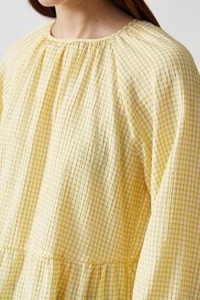 Koton Kadın Sarı Ekoseli Bluz 1YAK68815CW 4