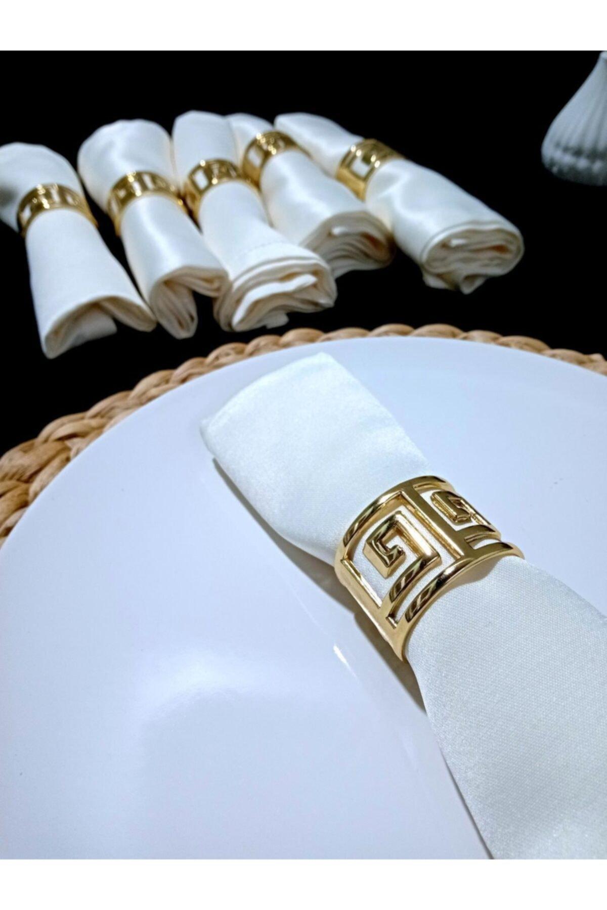 Peçete Yüzüğü Altın Renk Labirent Desenli Paslanmaz Çelik 6'lı Set