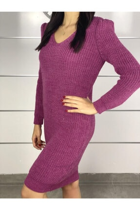 ELBİSENN Yeni Model Kadın V Yaka Yırtmaç Detay Triko Elbise (Pembe) 1