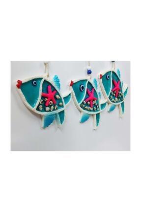 SUME Deniz Kabuğu Süslemeli 3'lü Balık Duvar Süsü Nazarlık 1