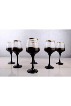 Glassya Gold Şeritli Siyah Kadeh (6'lı Set) 0