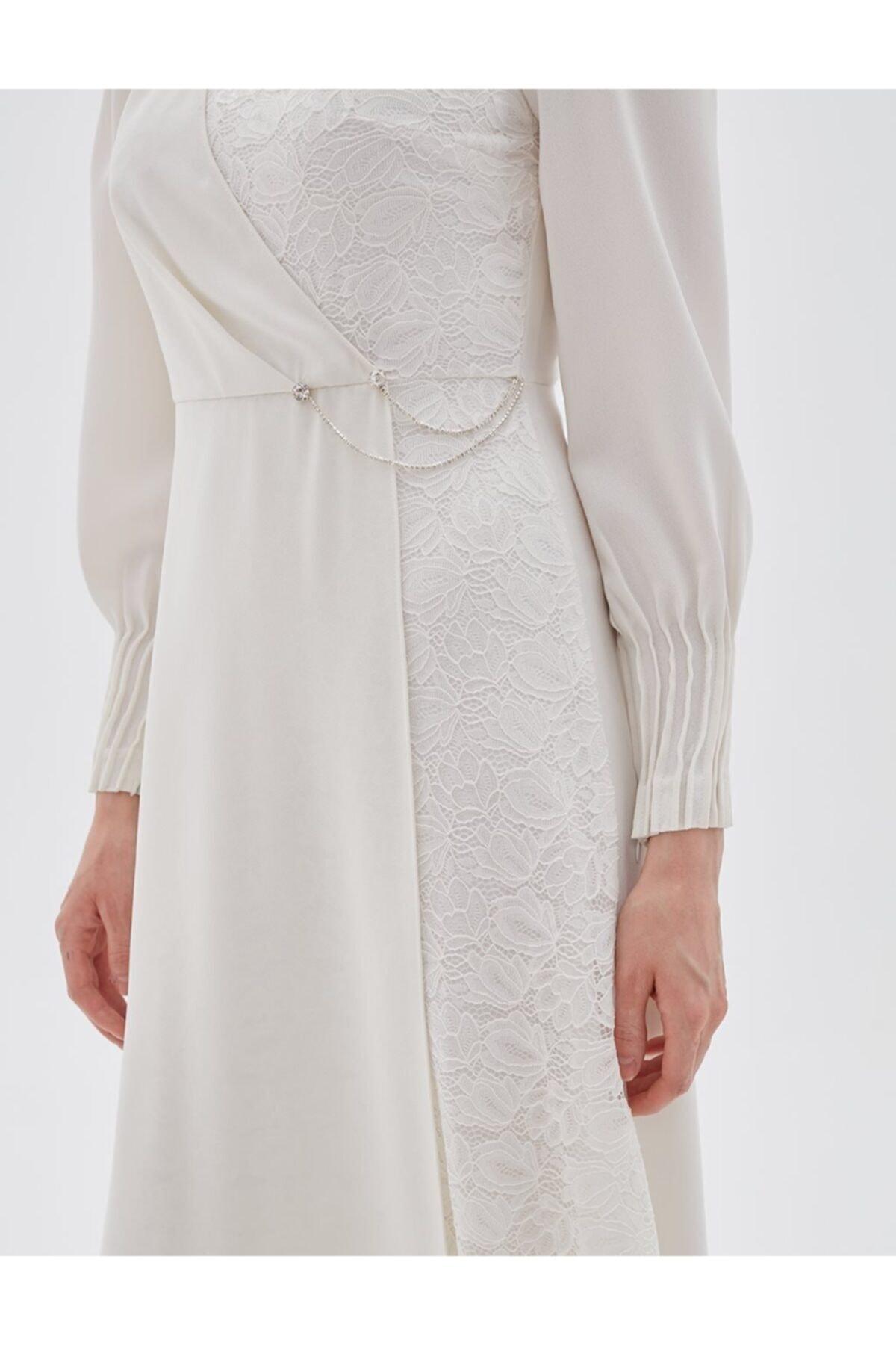 Drapeli Dantel Elbise Beyaz A20 23006