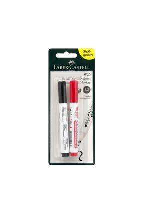 Faber Castell Beyaz Tahta Kalemi W20 Siyah Kırmızı 2 Li Okul Kırtasiye Ekipmanı 0
