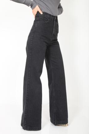 MADAME X Kadın Siyah Bol Paça Ekstra Yüksek Bel Kot Pantolon 0