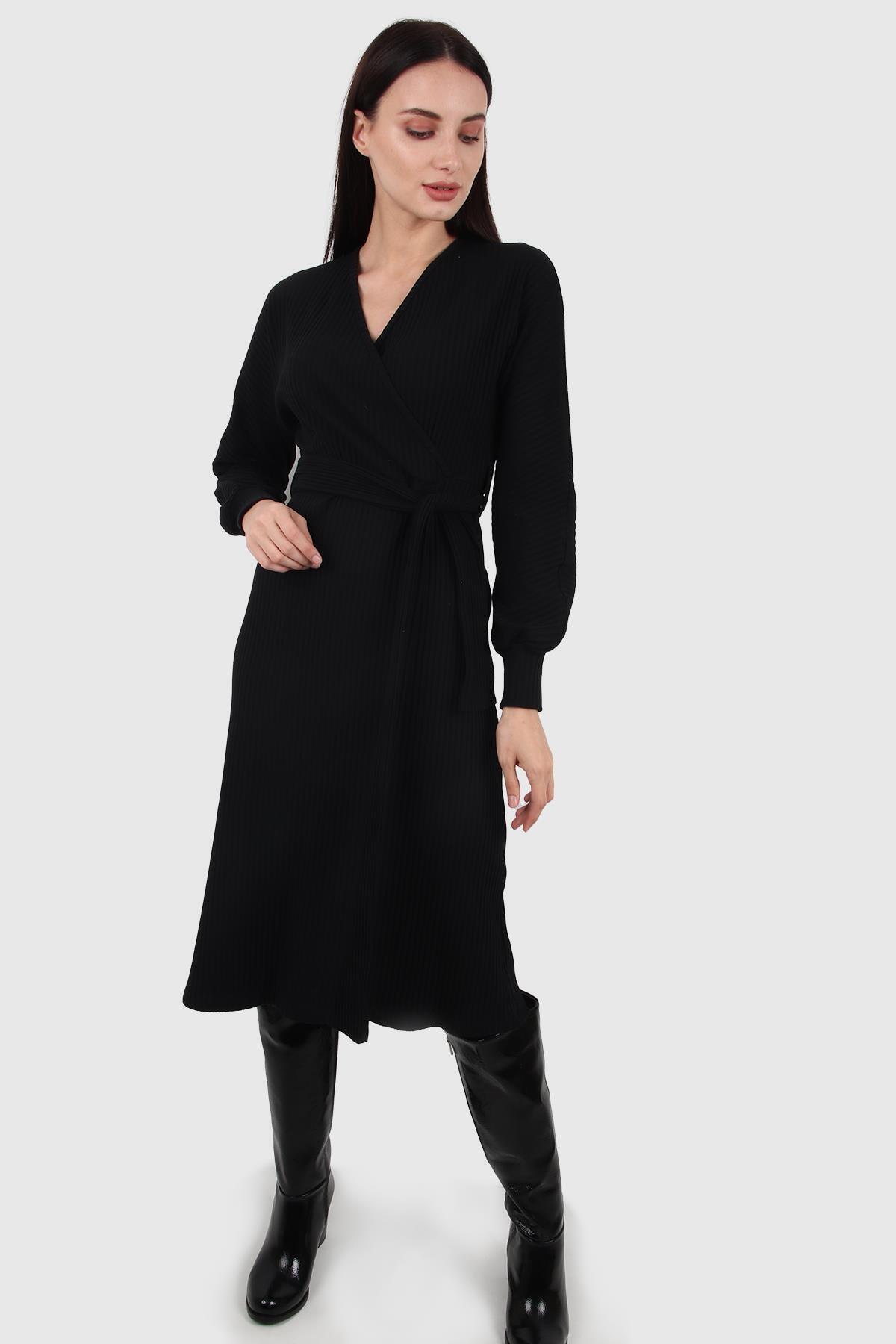 Kemerli Kruvaze Yaka Elbise, Siyah (B20-167701)