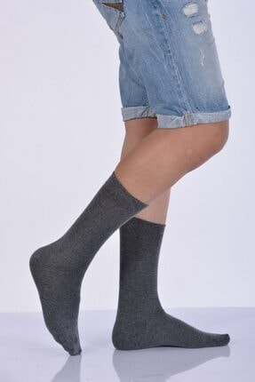 Idilfashion 4'lü Paket - Likralı Penye Erkek Soket Çorabı - Gri E-art226 I4M226031123