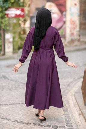 benguen 7069 Tesettür Elbise - Mor 4