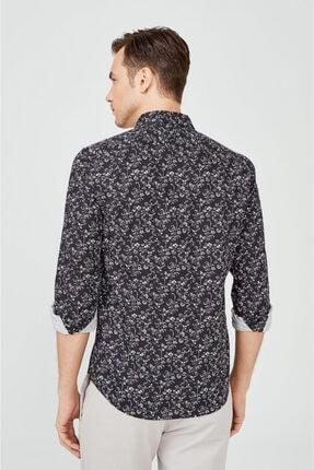 Avva Erkek Lacivert Baskılı Klasik Yaka Slim Fit Gizli Patlı Gömlek A02y2051 2