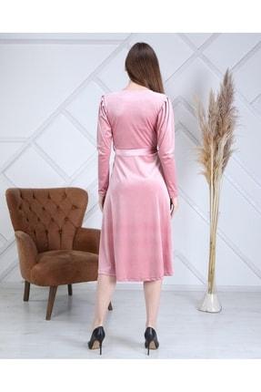 MACFLY Kuşaklı Midi Boy Kruvaze Yaka Kadife Elbise 3