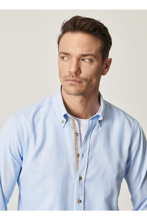 Altınyıldız Classics Tailored Slim Fit Dar Kesim Düğmeli Yaka Oxford Gömlek 1