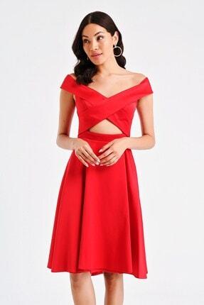 Bel Dekolteli Çapraz Saten Abiye Elbise Kırmızı S-20Y3050018