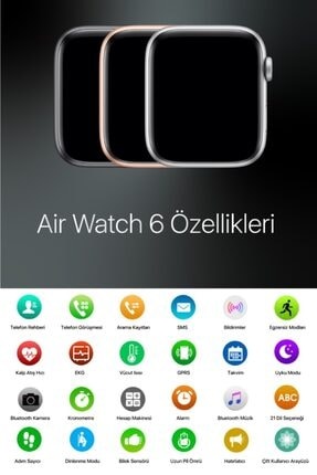 AirWatch Akıllı Saat Suya Dayanıklı Ateş Ve Nabız Ölçer Çok Fonksiyonlu Ios Ve Android Uyumlu 1