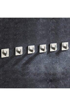 DELTAHOME Paslanmaz Çelik 6 Adet Topuzlu Askılık / Havluluk Set - Yapışkanlı Sistem - Inox 1