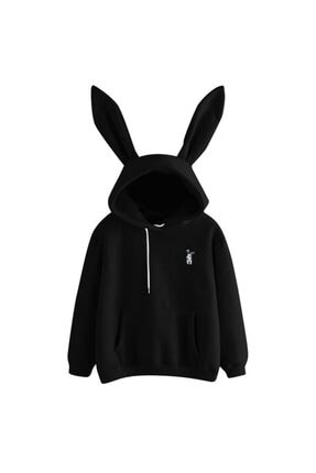 öz taha Ufak Tavşan Siyah Bayan Sweatshirt 0