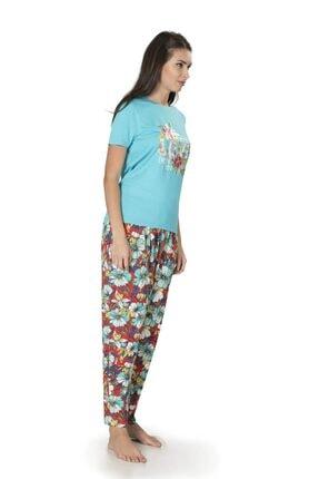 Pierre Cardin Kadın Akvaryum Mavisi Kısakol Çiçekli Şalvar Ev Kıyafeti 1