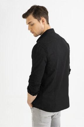 Avva Erkek Siyah Düz Düğmeli Yaka Slim Fit Uzun Kol Vual Gömlek A01s2206 3