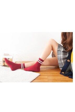 çorapmanya Kadın 6' Lı Karışık Renkli Çizgili Tenis Çorabı 3