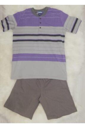 Haluk Bayram Baha 2361 Çizgili Şortlu Erkek Pijama Takımı Lila 0