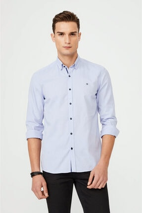 Avva Erkek Mavi Düz Alttan Britli Yaka Slim Fit Gömlek A02y2244 0