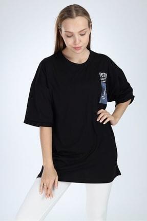 Millionaire Siyah Future Baskılı Oversize T-shirt 1