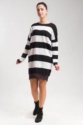 caddecity Çizgili Triko Etek Dantel Detaylı Elbise 1