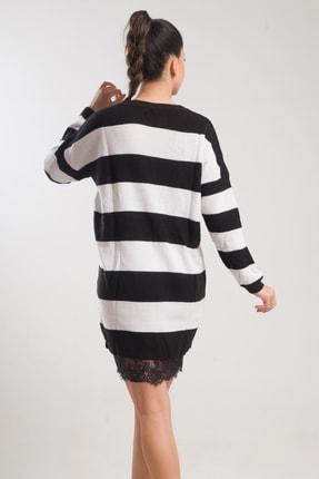 caddecity Çizgili Triko Etek Dantel Detaylı Elbise 3