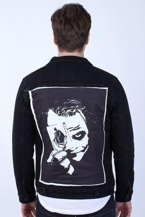 تصویر از Batman Baskılı Erkek Siyah Yıkamalı Kot Ceket