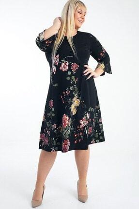 Picture of Ispanyol Kol Karanfil Desenli Örme Krep Büyük Beden Elbise Siyah