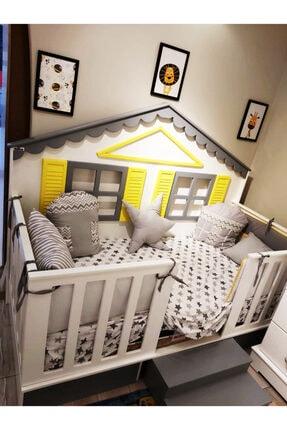 Montessori Yataklara Uyumlu Uyku Seti Gri Yıldız BBYMONT-1