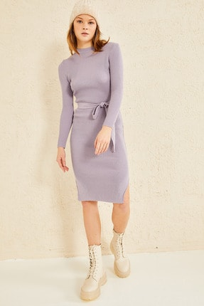 oshebu Fitilli Kuşaklı Triko Elbise 2
