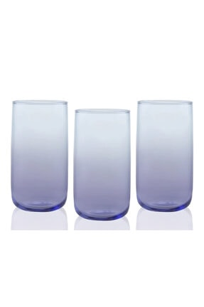 English Home Degetto Cam 3'lü Meşrubat Bardağı 365 Ml Mor-Mavi 2
