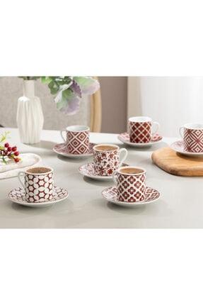 English Home Bordo Mira Porselen Kahve Fincan Takımı 80 ml 1