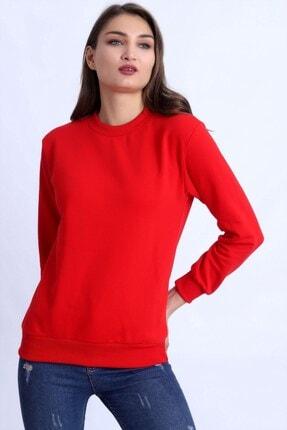 Deafox Canlı Kırmızı Basic Kadın Sweatshirt 2