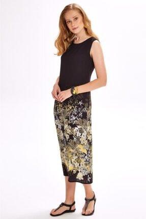 İkiler Kadın Siyah Eteği Desenli Kolsuz Uzun Elbise 020-4020 3