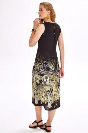 İkiler Kadın Siyah Eteği Desenli Kolsuz Uzun Elbise 020-4020 4